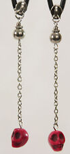 "Zipper Pull Cable Chain Skull Post Dangle Earrings Silver Red Day Dead 3.5"" Long"