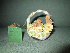Rare Vintage Basket of Birds Flowers Bone China Josef Original Georgian Figurine