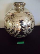 Rare très gros vase en verre ou cristal taillé  églomisé, mercurisé 19 ème