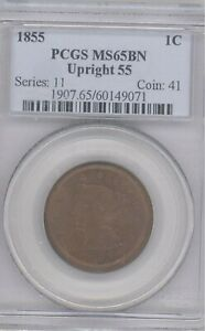 1855  Braided Hair Large Cent PCGS MS65BN UPRIGHT 55