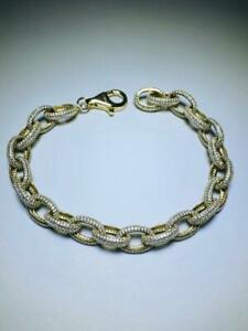 Yellow Gold Sterling Silver Pave White Sapphire Link Design Halo Tennis Bracelet