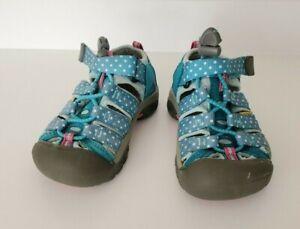 Keen Newport Sport Sandal Water Shoe, Hook & Loop, Rubber Toes, Teal Dots Size 9