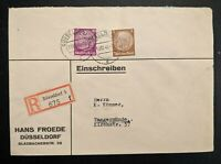 1940 Dusseldorf to Tangermünde Germany Hans Froede Registered Mail Cover