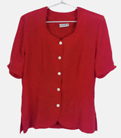 Jacqueline Eve Vintage Womens Red Spotted Short Sleeve Button Up Blouse Size 12