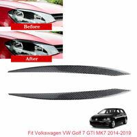 For VW Golf7 GTI MK7 2014-2019 Headlight Eyebrows Eyelid Carbon Fiber Sticker