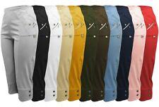 Caprihose Damen kurze Sommerhose 7/8 Stoffhose mit Seitentaschen Stretch alle Gr