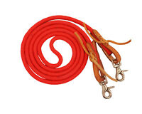 "Tahoe Poly Western Barrel Reins for Horse Riding Tack Red 3/8"" X 7'"