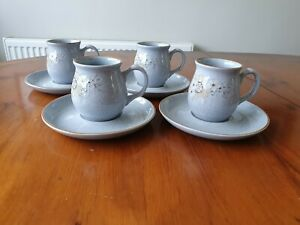 4  DENBY 'REFLECTIONS ' ESPRESSO COFFEE CUPS AND SAUCERS DEMITASSE