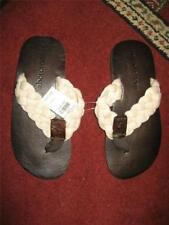 NWT Boy's ABERCROMBIE braided cream/brown leather flip-flops...size M(6-7)
