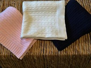 100% Pure Cotton Cable Vintage Knit Baby Blanket  RRP $49.95