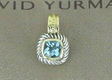 David Yurman 14K Yellow Gold Sterling Silver Cushion Blue Topaz Albion Necklace