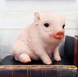 "Ebros Rustic Adorable Animal Farm Babe Fat Nude Piglet Pig Sitting Figurine 6""L"