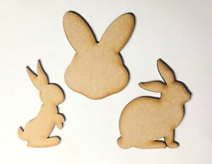 Wooden Bunny Rabbit shapes 10 - 20cm 3 Styles Wooden Easter Ready to Decorate