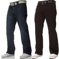 New Mens Enzo Jeans Straight Leg Designer Regular Fit Black Dark Wash Big Tall
