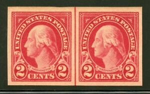 US Scott 577 Washington Imperf. Horizontal Center line pair  Mint Hinged