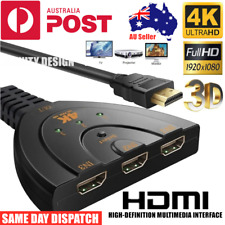 HDMI Splitter 3in1 4K Ultra HD 1080 Adapter Converter Switch Multi Display Cable