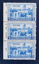 US Stamps, Scott #789 5c Side strip of 3 of Army Issue: West Point 1937 XF M/NH