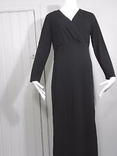 Diane Von Furstenberg Concepts Black V Neck L/ Sleeve Wrap Chest Dress Size S