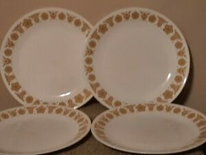 """4 Vintage Corelle Butterfly Gold 10 1/4"""" Plate Dinner Plates"""