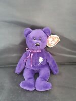 MINT!! RARE PVC Pellet 1997 TY PRINCESS DIANA BEAR BEANIE BABY Indonesia Purple