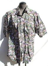 Vtg 1980s Mens Body Objects Brand Floral Western Beach Casual Button up Shirt L
