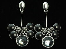 Quality gray crystal black enamel round charms silver plated stud earrings G35