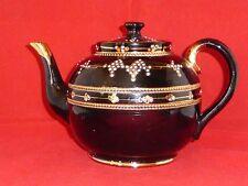 Elegant Antique Victorian Blackware/Jackfield Teapot with Gilt & Enamel c1890