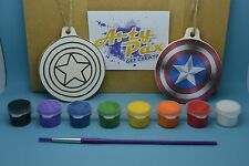 Paint Your Own Captain America Shield Hanging Decoration Kit Birthday Gift Set
