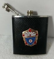 Soviet Hip Flask Souvenir Stainless Steel 7 oz VODKA  Russia Military KGB Badge