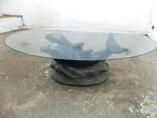 oval,coffee table,dolfin base,end table,table,unique,vintage,1970's,glass top