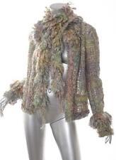 CHANEL 03A Rainbow Mutlicolor Tweed Mesh Jacket Blazer Coat+Scarf 42/10