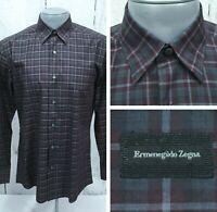 ERMENEGILDO ZEGNA M Medium L/S Shirt Hidden Button Down Dark Gray Burgundy Plaid