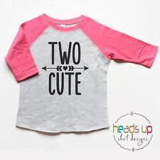 Two Cute Toddler Girl Raglan Shirt - Two Birthday Shirt Raglan Girl Two Cute - 2