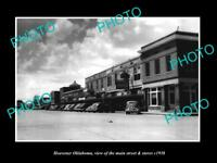 OLD LARGE HISTORIC PHOTO OF HEAVENER OKLAHOMA, THE MAIN STREET & STORES c1938