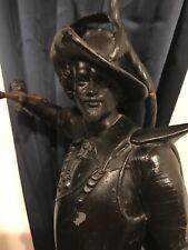 "Antique Massive 25""H & Detail Black Enamel Spelter Metal Musketier Post Lamp NR"