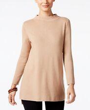 Alfani Mock Neck High Low Sweater Beige Camel XL