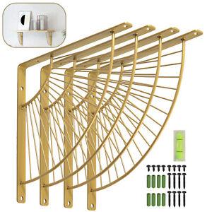 4pc Gold Fan-Shaped Shelf Brackets Heavy Duty Household Decoration Racks +Screws