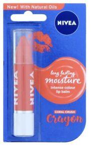 Nivea Coral Crush Crayon Lip Balm Long Lasting With Mineral Oils Moisturising