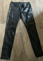All Saints Black Coated Faux Leather Look Skinny Jeans Zips On Ankles Size 30w