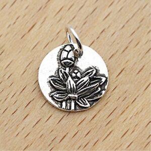 Solid 925 Sterling Silver Vintage Lotus Yoga Flower Zen Disc Dot Pendant Charm A