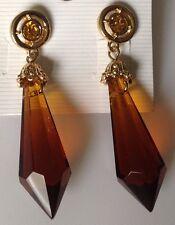 boucles d'oreilles clous imposante couleur or rétro goutte de verre citrine 433