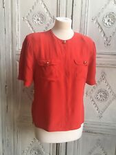Vintage St. Michael Blouse - Red Silk 1980s Size UK 10-12