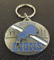 Collectible Solid Pewter Enameled Keychain NFL Detroit Lions Football