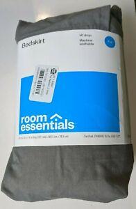 "Room Essentials Bedskirt Full 54"" x 75"" x 14"" Drop Gray Polyester Cotton"