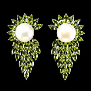 Unheated Marquise Peridot Pearl White Gold Plate 925 Sterling Silver Earrings