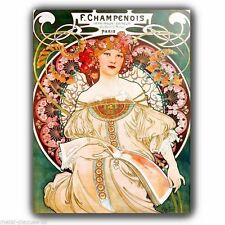 Parete in metallo PLACCA Alfons Alphonse Mucha Champenois VINTAGE SHABBY FRANCESE POSTER