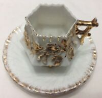 Vintage Demitasse Cup and Saucer Porcelain White & Gold  6-sided Footed Cup