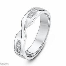 9ct White Gold Diamond Set 4mm Twist Crossover Ring - Wedding Band - Hallmarked