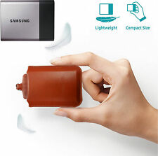 Samsung T3 & T5 Portable SSD Natural Cowhide Leather Brown Pouch Case
