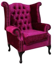 Chesterfield Queen Anne High Back Fireside Wing Chair Shimmer Fuchsia Velvet
